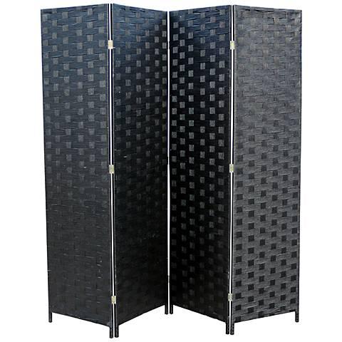 Eisinger Black Paper Straw Weave 4-Panel Room Divider