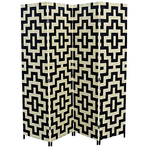 Anastasia Paper Straw Weave 4-Panel Room Divider
