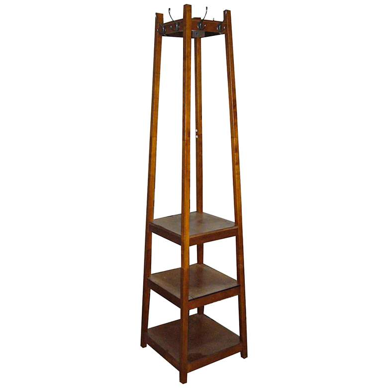 """Westley 72"""" High Mission Style 3-Tier Shoe Tower Coat Rack"""