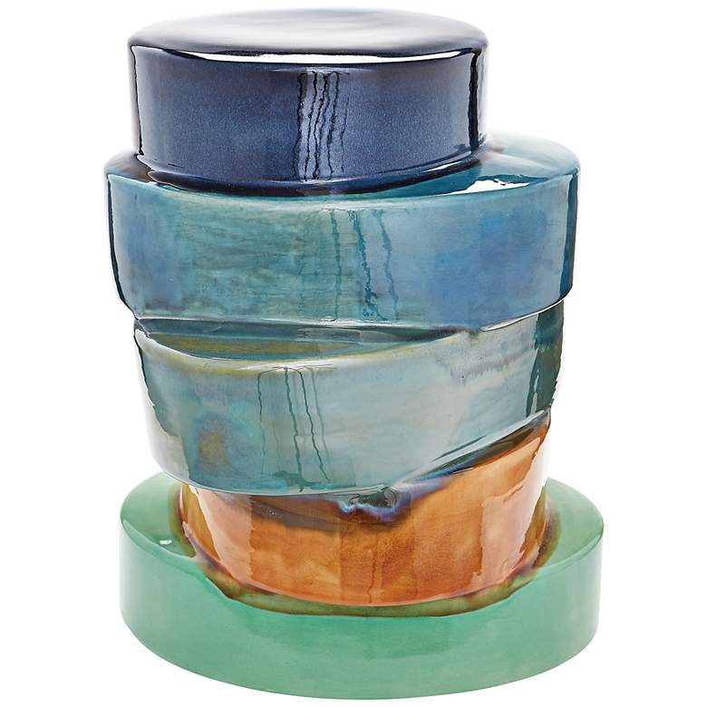 Stacked Ovals Multicolor Earthenware Side Table