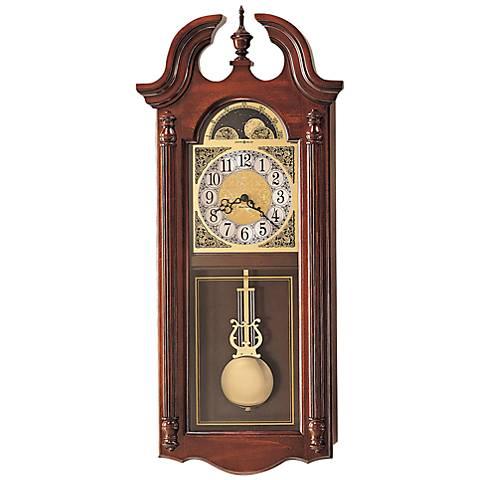 """Howard Miller Fenwick Cherry 30 1/4"""" High Wall Clock"""