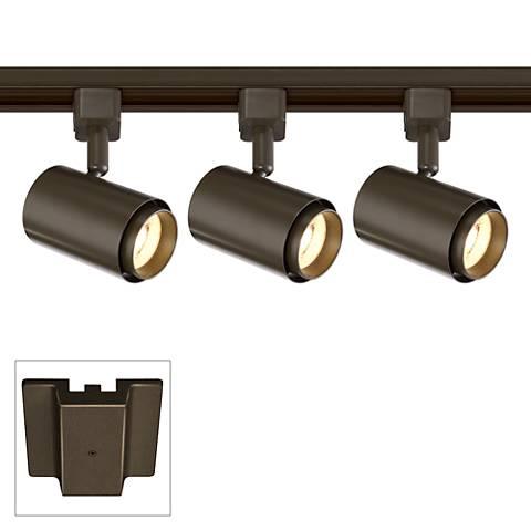 3-Light Bronze LED Floating Canopy Track Kit