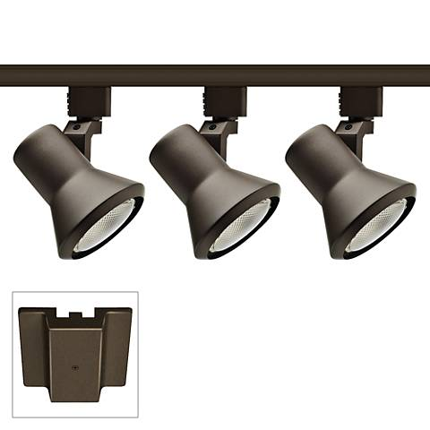 Juno 3-Light Bronze Flared Head Floating Canopy Track Kit