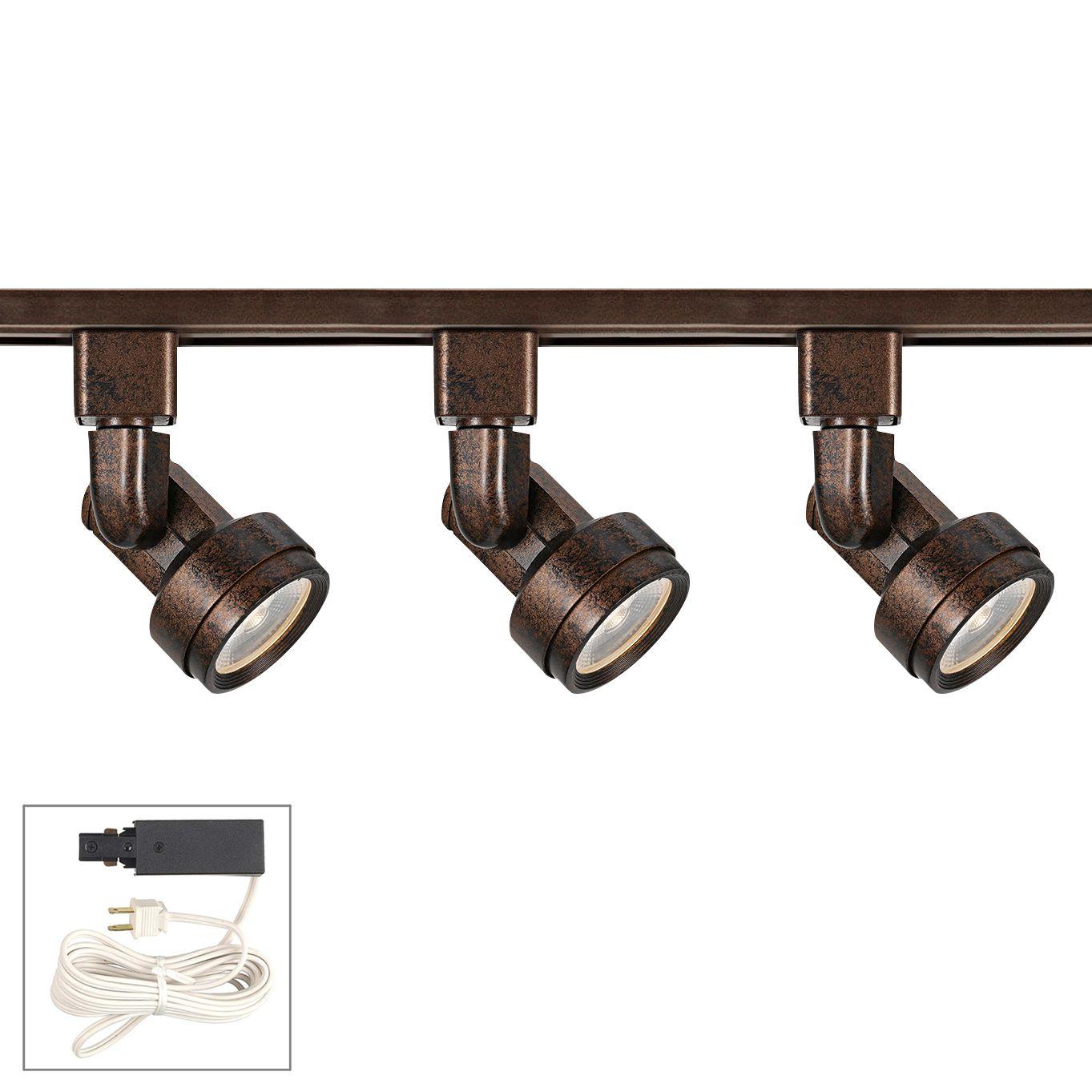 Riley 10 Watt 3-Light Rust LED Plug-In Linear Track Kit  sc 1 st  L&s Plus & Bronze Plug-In Track Lighting | Lamps Plus
