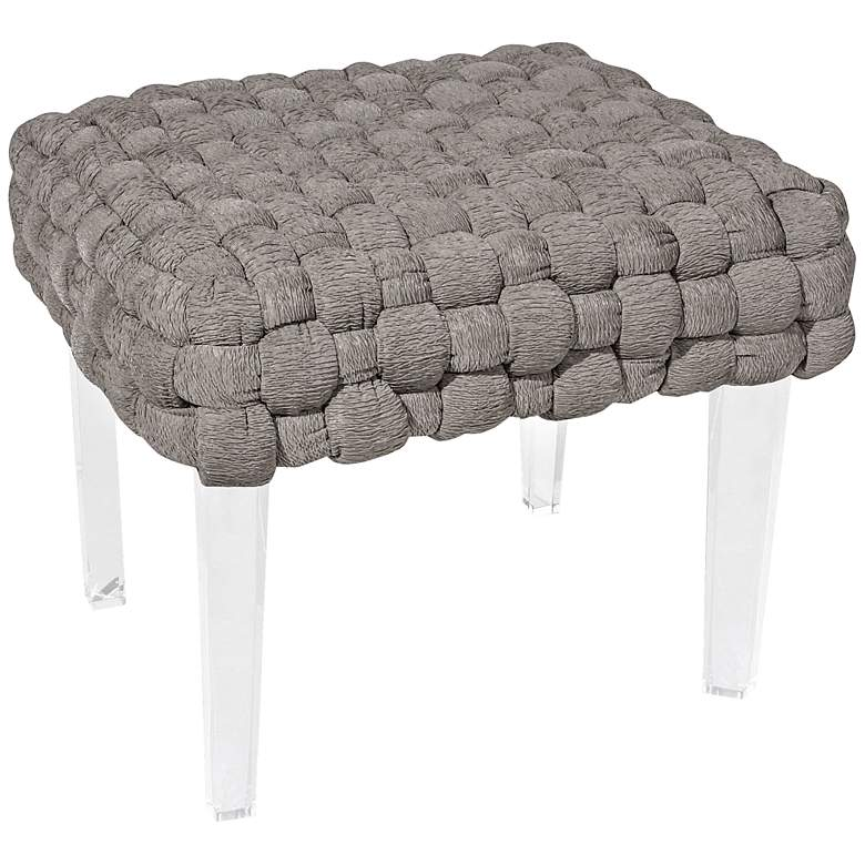 Strange Rojo 16 Plaited Gray Woven Square Ottoman Gmtry Best Dining Table And Chair Ideas Images Gmtryco