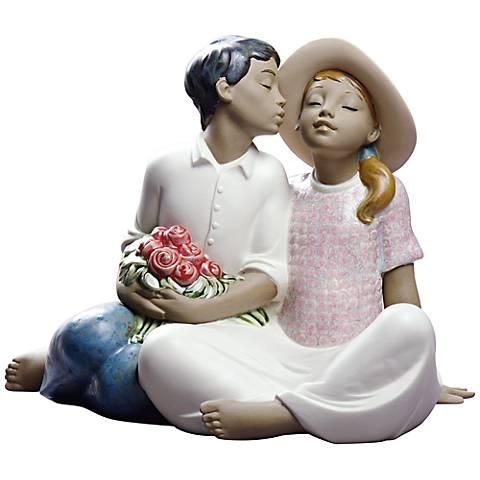 """Nao Stealing a Kiss II 9"""" Wide Porcelain Sculpture"""