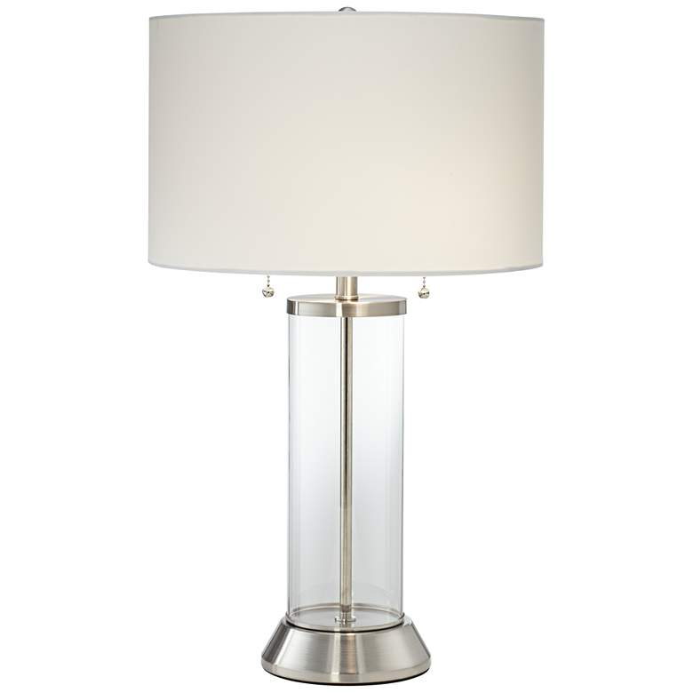 Fritz Glass Column Table Lamp with USB Port and Utility Plug