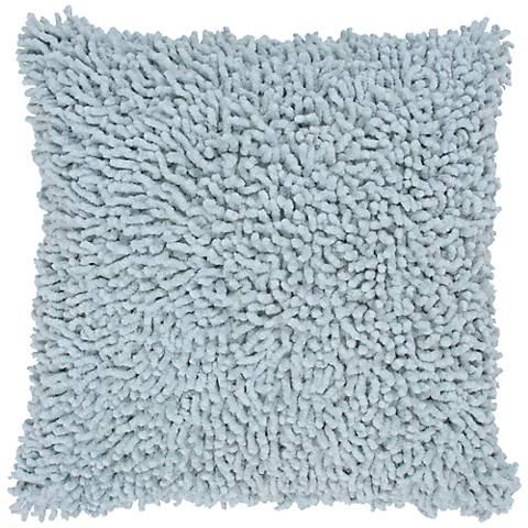 """Aqua 18"""" Square Shag Throw Pillow"""