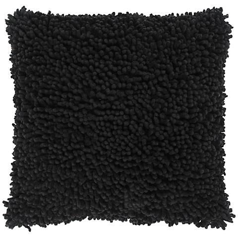 "Black 18"" Square Shag Throw Pillow"