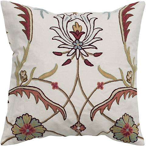 """Blooming Fields Embroidered 20"""" Square Throw Pillow"""