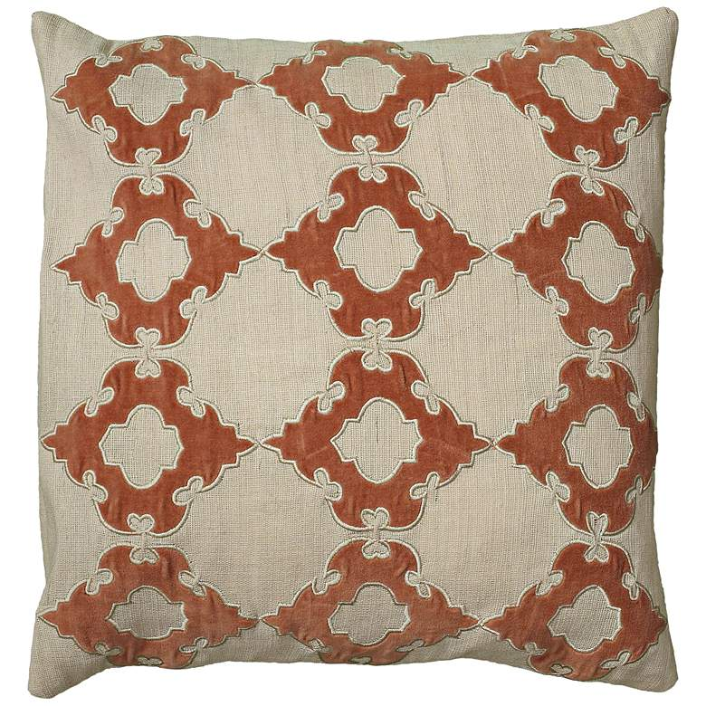"""Natural Taupe and Orange 18"""" Square Throw Pillow"""