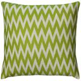 """Lime Green and White Woven 20"""" Square Chevron Pillow"""