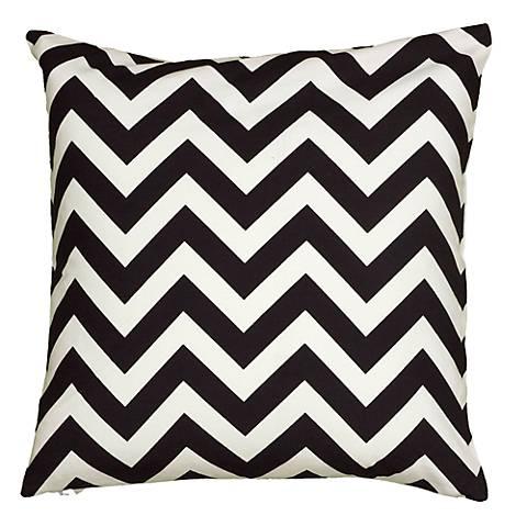 """Black and White Chevron 18"""" Square Throw Pillow"""