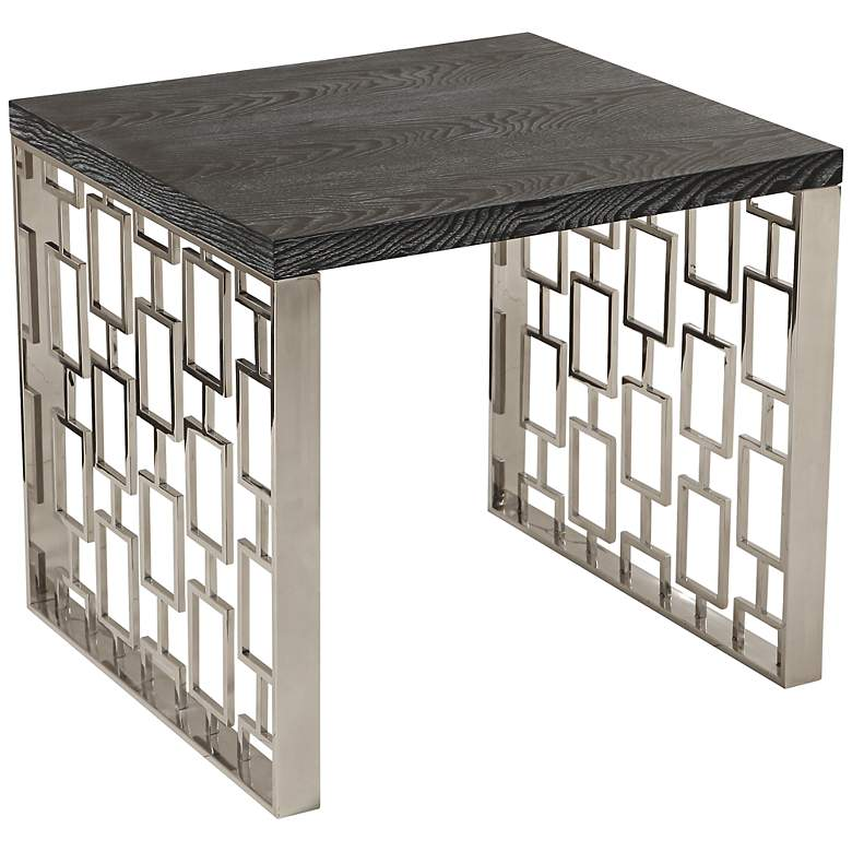 "Skyline 24"" Wide Charcoal and Stainless Steel Side Table"