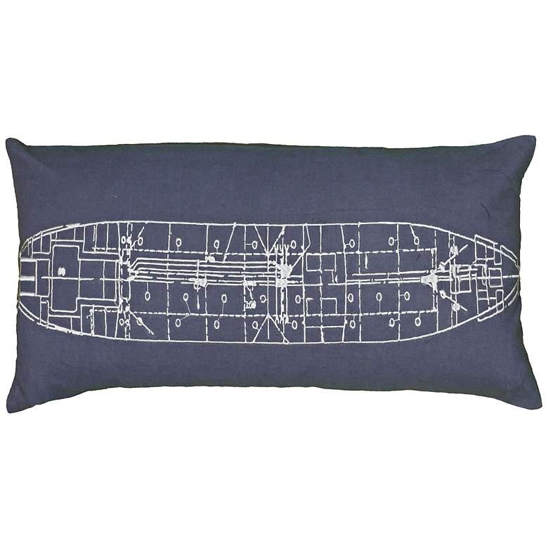 "Blue and Ivory Ship Blueprint 21"" x 11"""