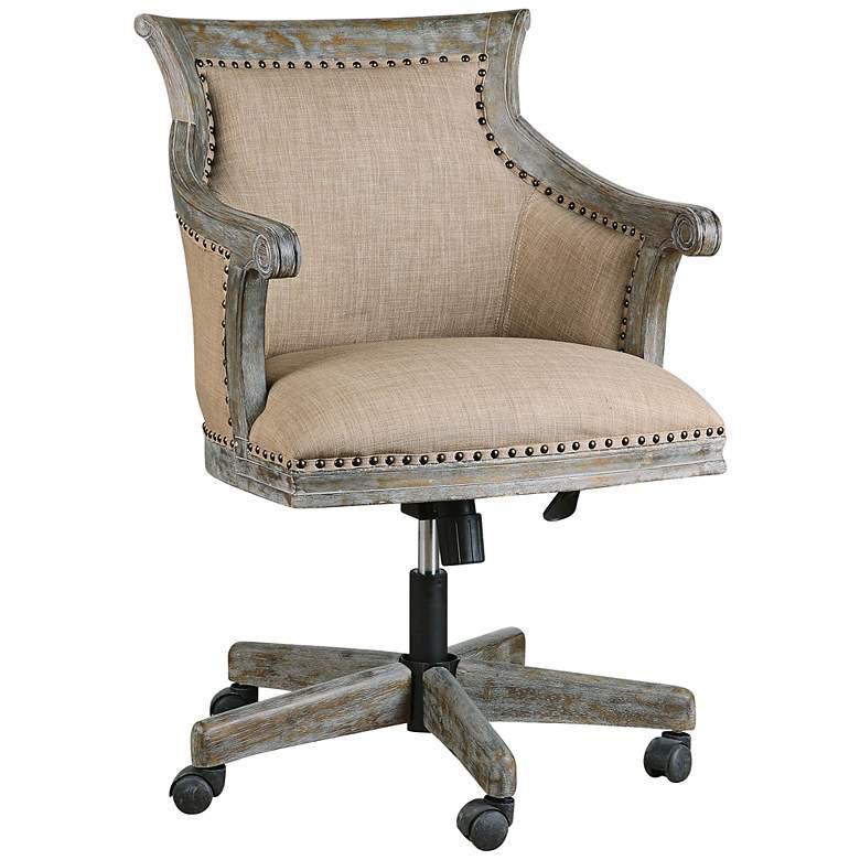 Fine Uttermost Kimalina Silver Leaf Linen Swivel Office Chair Beatyapartments Chair Design Images Beatyapartmentscom