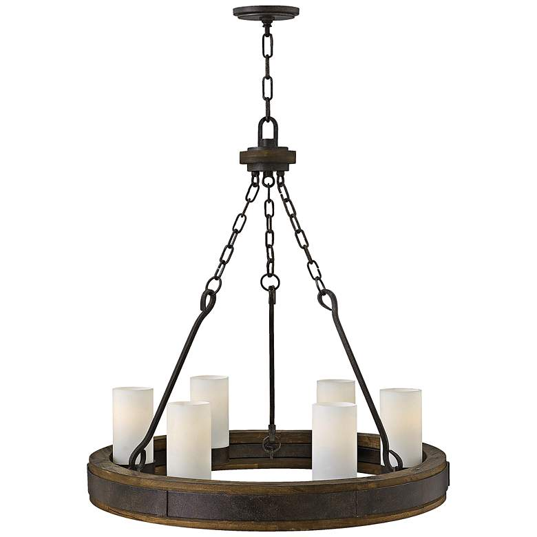"""Cabot 28"""" Wide Rustic Iron Wagon Wheel Chandelier"""