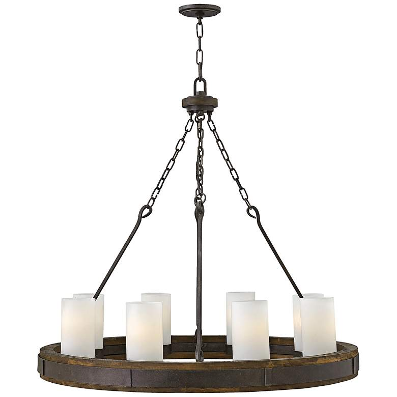 """Cabot 38"""" Wide Rustic Iron Ring Wagon Wheel Chandelier"""