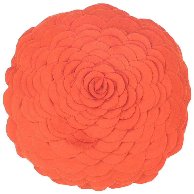 "Blooming Flower 14"" Round Orange Throw Pillow"