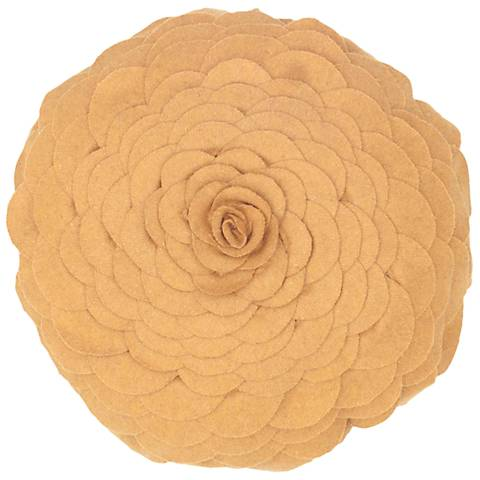 """Blooming Flower 14"""" Round Gold Throw Pillow"""