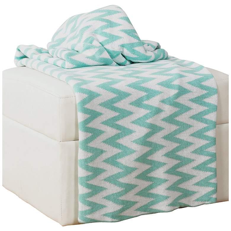 Lime Green and White Chevron Throw Blanket