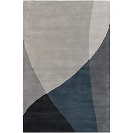 a91bb4c7764d Chandra Bense Garza BEN3003 Blue and Gray Wool Area Rug