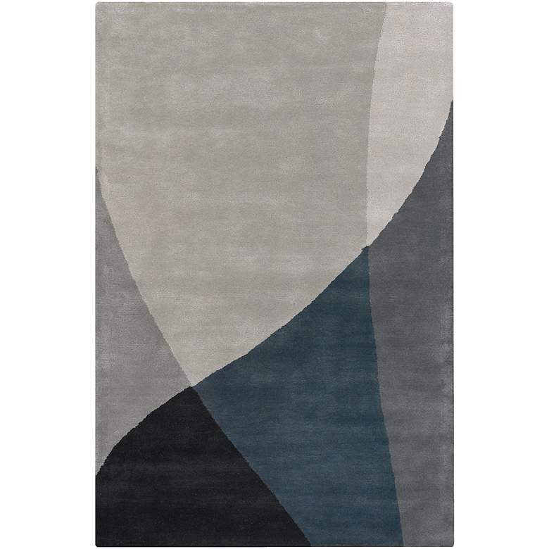 """Chandra BEN3003 5'x7'6"""" Blue and Gray Wool Area Rug"""