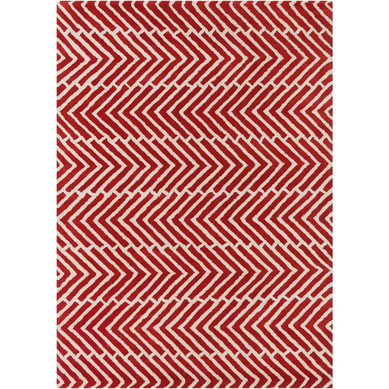 Chandra Davin DAV25810 5'x7' Red Wool Area Rug