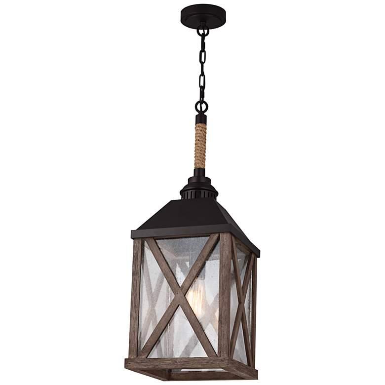 "Feiss Lumiere 9 1/2"" Wide Weathered Oak Mini Pendant Light"