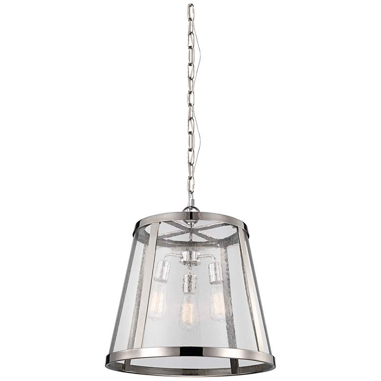 "Feiss Harrow 19"" Wide Polished Nickel Pendant Light"