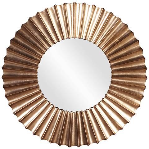 "Howard Elliott Olivia Silver Leaf 38 1/2"" Round Mirror"