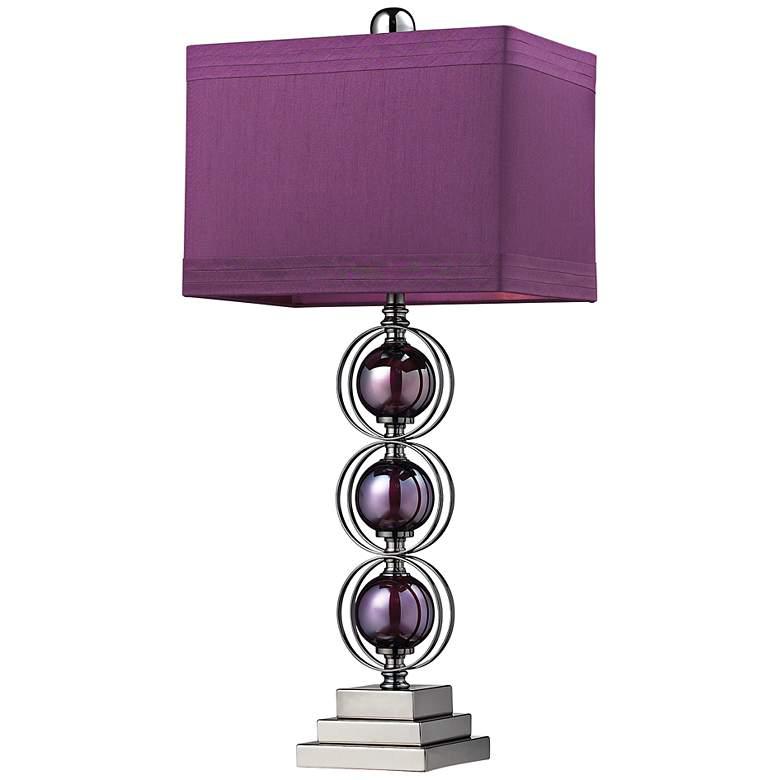 Alva Purple Black Nickel Sphere Table Lamp