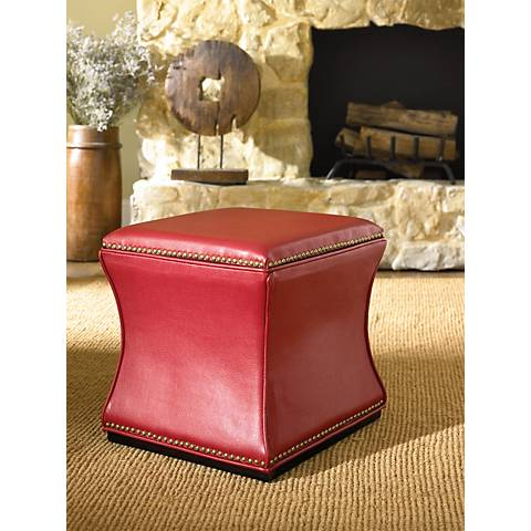 Hammary Hidden Treasures Red Storage Cube Ottoman
