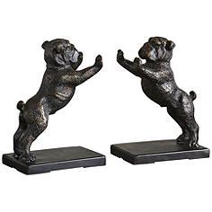 Uttermost Golden Bronze Iron Bulldogs Bookends Set
