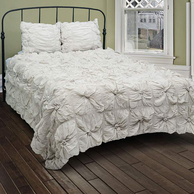 Soft Dreams Gray Ruched 3-Piece Queen Comforter Set