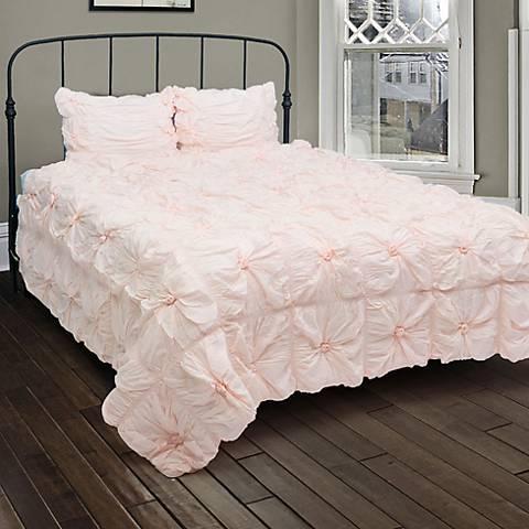 Plush Dreams Pink Ruched Comforter Set