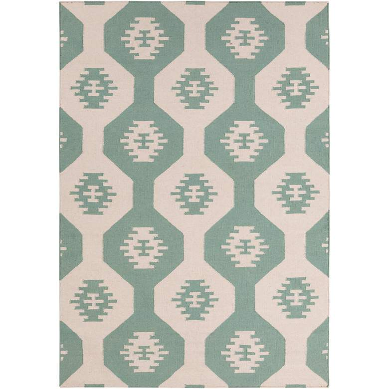 Chandra Lima LIM25717 5'x7' Blue and Beige Wool Area Rug