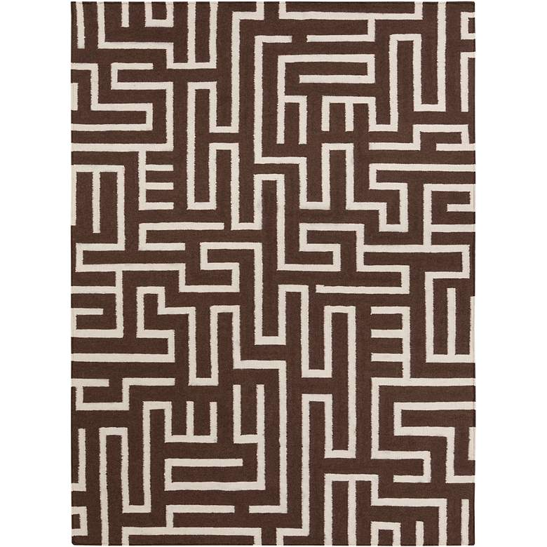 Chandra Lima LIM25725 5'x7' Brown Wool Area Rug