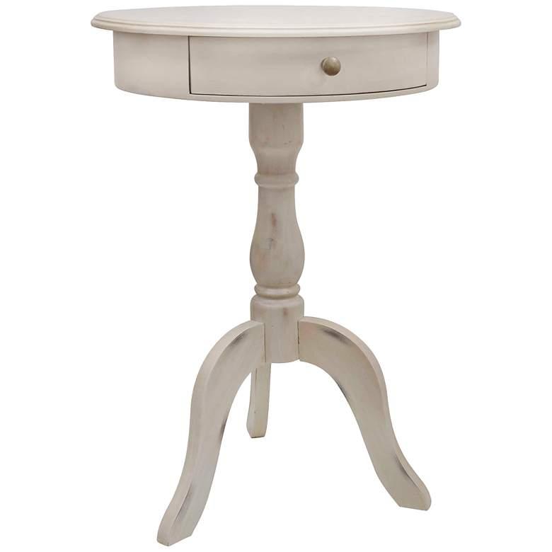 "Delara 21 1/2"" Wide Antique White Drawer Pedestal Table"