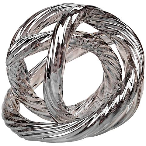 "Infinity Metallic Silver Hand-Blown Glass 5"" High Ornament"