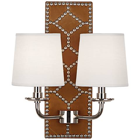 Lightfoot Polished Nickel Ochre Leather 2-Light Sconce