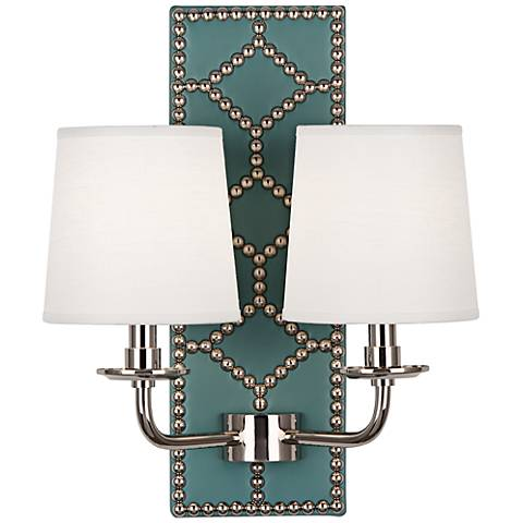 Lightfoot Polished Nickel and Teal Leather 2-Light Sconce
