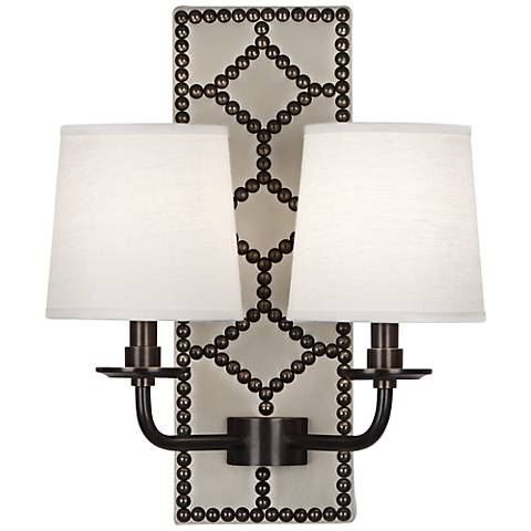 Lightfoot Deep Patina Bronze White Leather 2-Light Sconce