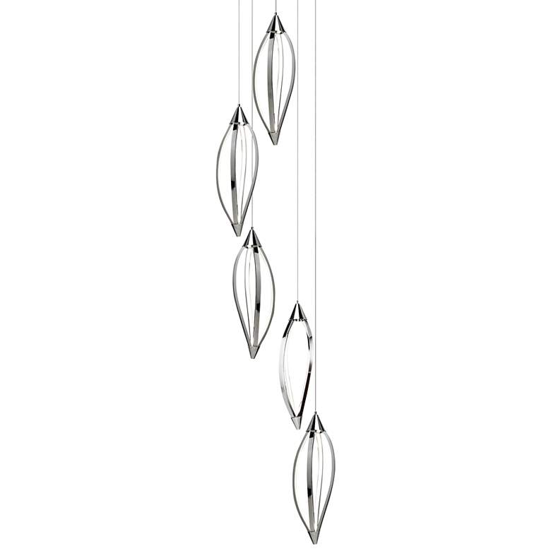 "Elan Meridian 21 3/4"" Wide Chrome Head Cluster Pendant"