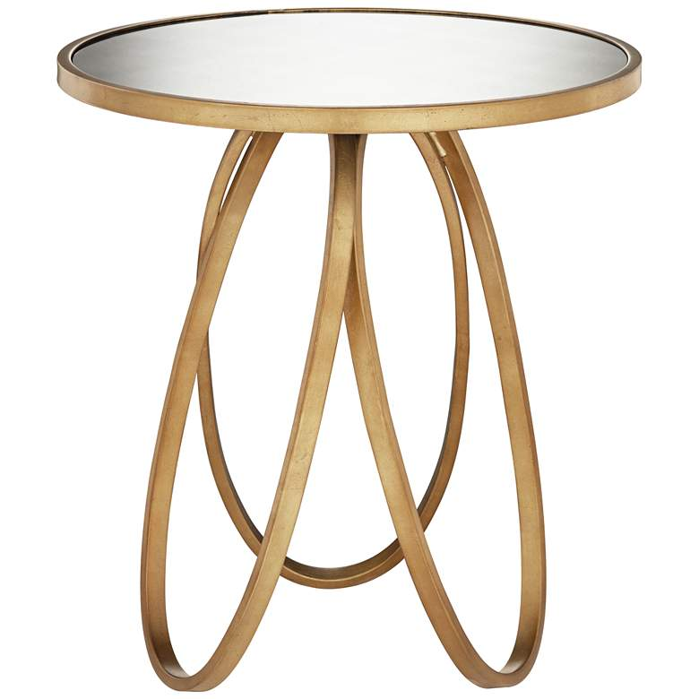 "Montrez 24"" Wide Glazed Gold Leaf Mirror Accent Table"