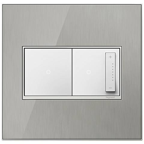 Brushed Stainless Steel 2-Gang Wall Plate w/ Switch and Dimmer