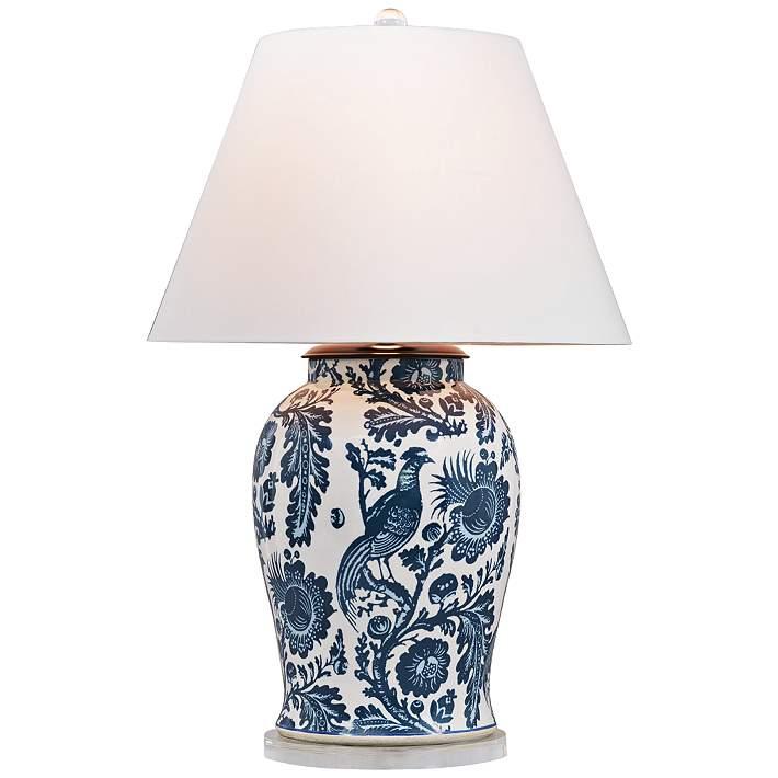 Arcadia Indigo Porcelain Table Lamp, Porcelain Table Lamp