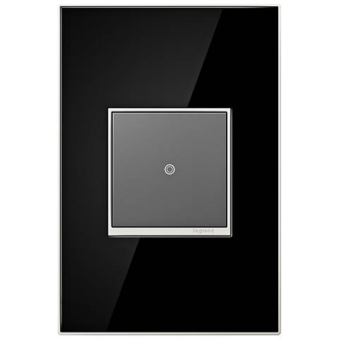 adorne Mirror Black 1-Gang Real Metal Wall Plate with Switch