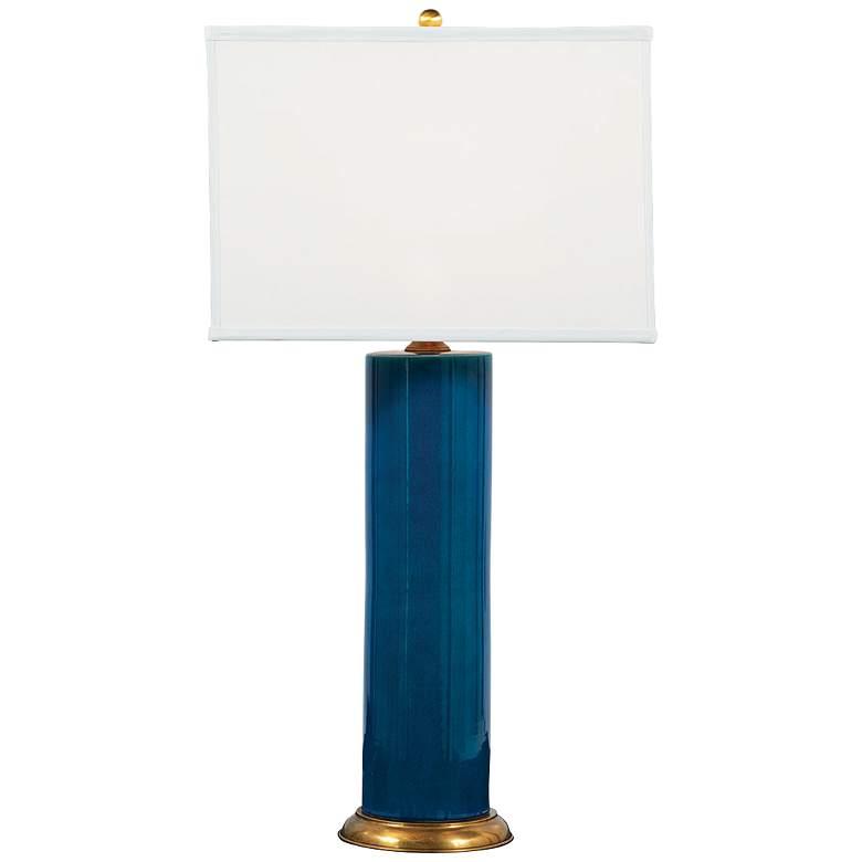 Melrose Coastal Modern Turquoise Blue Porcelain Table Lamp