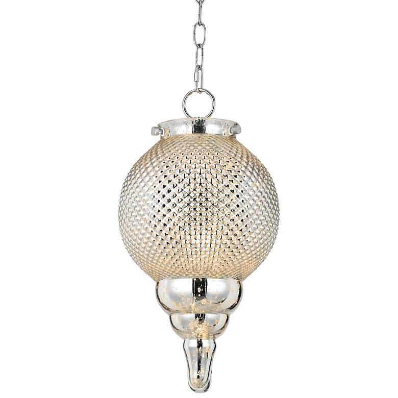"""Teardrop 9"""" Wide Pattern Glass Globe Mini Pendant"""